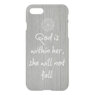 Capa iPhone 8/7 O deus está dentro dela, ela não cairá verso da