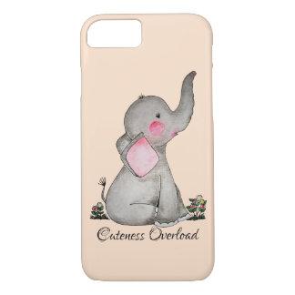 Capa iPhone 8/ 7 O elefante bonito do bebê da aguarela com cora &