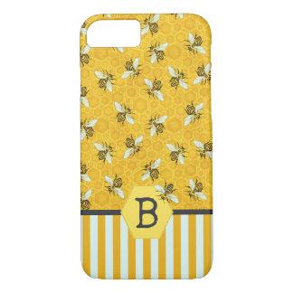 Capa iPhone 8/ 7 O favo de mel da abelha Bumble o teste padrão do