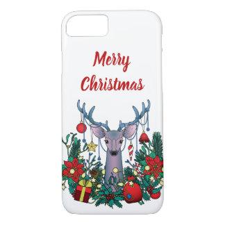 Capa iPhone 8/ 7 O Feliz Natal encaixota com cervos do Natal
