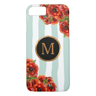 Capa iPhone 8/ 7 O fuzileiro naval listra o monograma floral do