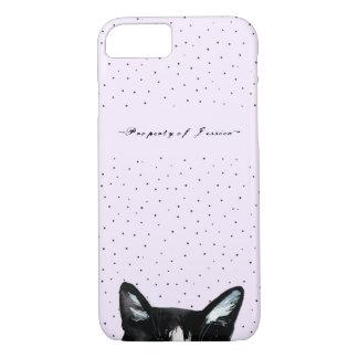 Capa iPhone 8/ 7 O gato espreitando curioso adorável com pontos