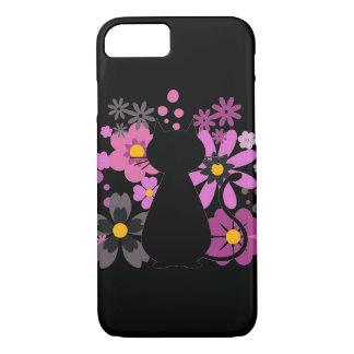Capa iPhone 8/ 7 O gato no rosa floresce IPhone 7/8 mal lá de caso