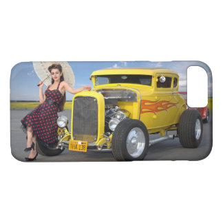 Capa iPhone 8/ 7 O hot rod arde o Pin do carro vintage dos grafites