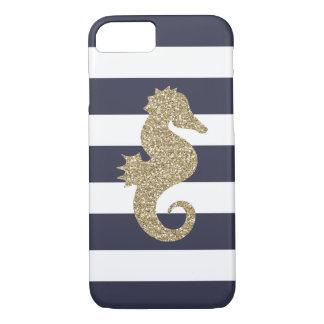 Capa iPhone 8/ 7 O marinho & o branco do cavalo marinho do ouro