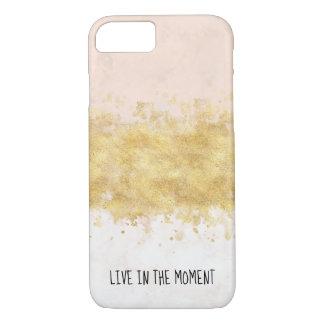 Capa iPhone 8/ 7 O ouro cora encanto cor-de-rosa da aguarela