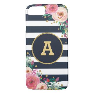 Capa iPhone 8/ 7 O ouro floral do marinho do monograma listra a