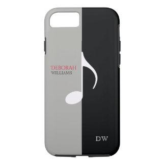 Capa iPhone 8/ 7 o preto & as cinzas do ~ da nota da música esfriam