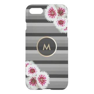Capa iPhone 8/7 O preto floral do monograma do ouro listrou a