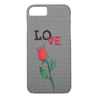 Capa iPhone 8/ 7 O preto vermelho da flor da tulipa pontilha o