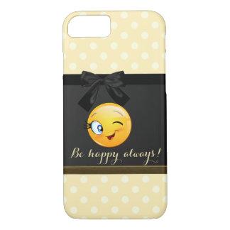 Capa iPhone 8/ 7 O smiley pisc adorável Emoji enfrenta, bolinhas