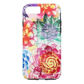 Capa iPhone 8/ 7 O Succulent colorido planta a aguarela artística