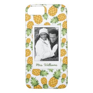 Capa iPhone 8/ 7 O teste padrão   do abacaxi adiciona sua foto