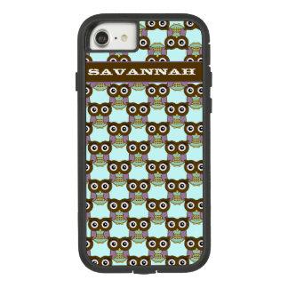 Capa iPhone 8/ 7 O teste padrão roxo da coruja do Aqua bonito de