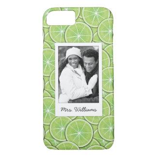 Capa iPhone 8/ 7 O teste padrão verde   do limão adiciona sua foto