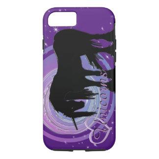 Capa iPhone 8/ 7 O unicórnio preto Mystical (roxo/borrão azul)