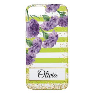 Capa iPhone 8/ 7 O verde limão listra confetes roxos do ouro dos