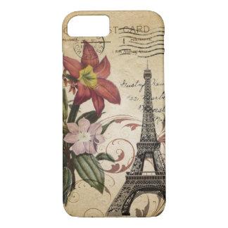 Capa iPhone 8/ 7 O vintage botânico do lírio scripts a torre Eiffel