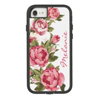 Capa iPhone 8/ 7 O vintage personalizado cora peônias cor-de-rosa