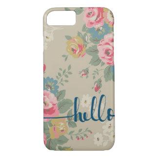 Capa iPhone 8/ 7 Olá! cobrir floral do telefone do teste padrão