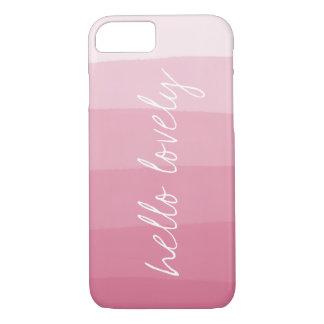 Capa iPhone 8/ 7 Olá! listra cor-de-rosa bonita do inclinação da