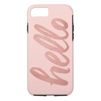 Capa iPhone 8/ 7 Olá! no ouro cor-de-rosa do roteiro | cora sobre o