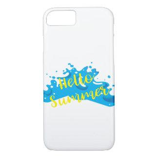 Capa iPhone 8/ 7 Olá! verão, gráfico das ondas, branco legal
