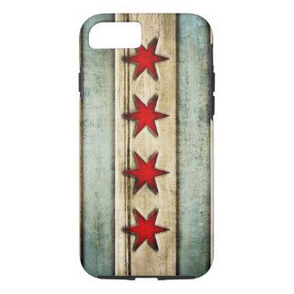 Capa iPhone 8/ 7 Olhar de madeira afligido bandeira de Chicago do