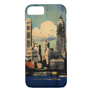 Capa iPhone 8/ 7 Olhar do vintage da skyline de New York - caso do