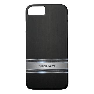 Capa iPhone 8/ 7 Olhar preto elegante da etiqueta do metal do couro
