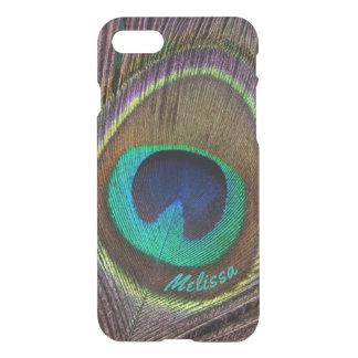 Capa iPhone 8/7 Olho bonito da pena do pavão, seu nome