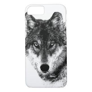 Capa iPhone 8/ 7 Olhos inspirados brancos pretos do lobo