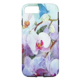 Capa iPhone 8/ 7 Orquídeas da aguarela brancas e cor-de-rosa