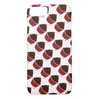 Capa iPhone 8/ 7 Os cupcakes gostam do doce vermelho da cereja do
