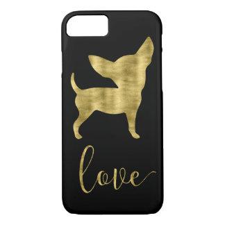 Capa iPhone 8/ 7 Ouro do falso e caixa preta de Iphone 8 do amor da