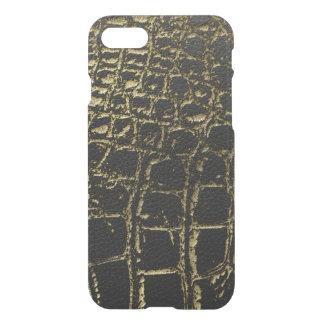 Capa iPhone 8/7 Ouro do falso e pele preta de /Snake do crocodilo