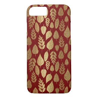 Capa iPhone 8/ 7 Ouro e teste padrão vermelho da folha