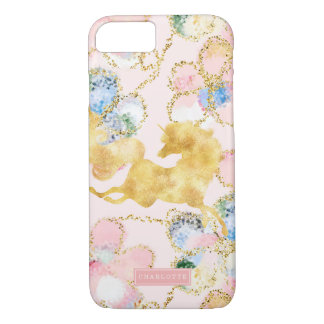 Capa iPhone 8/ 7 Ouro floral feminino do rosa do unicórnio