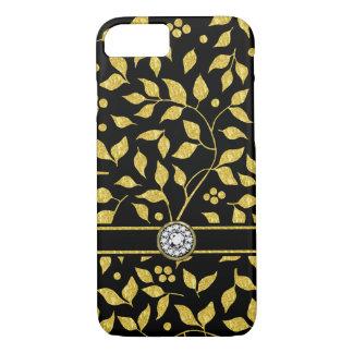 Capa iPhone 8/ 7 Ouro & monograma preto GR2 do teste padrão das