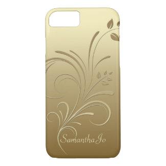 Capa iPhone 8/ 7 Ouro no caso floral do iPhone 7 do monograma dos