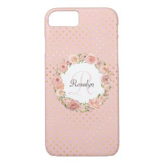 Capa iPhone 8/ 7 Ouro romântico nome Monogrammed floral pontilhado