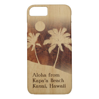 Capa iPhone 8/ 7 Palma gêmea de madeira de Koa do falso havaiano do
