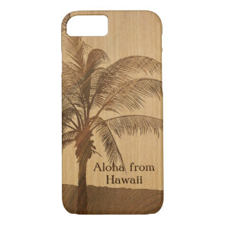 Capa iPhone 8/ 7 Palma havaiana do solteiro da madeira de Koa do