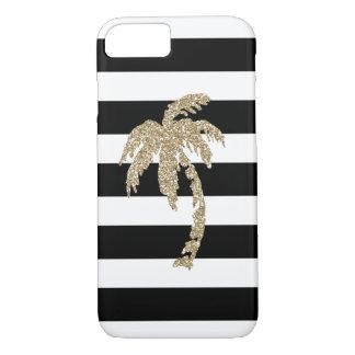 Capa iPhone 8/ 7 Palmeira tropical do brilho do ouro em preto & no