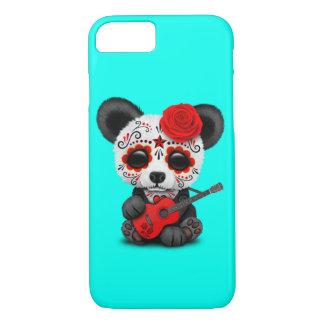 Capa iPhone 8/ 7 Panda vermelha do crânio do açúcar que joga a