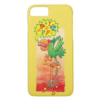 Capa iPhone 8/ 7 Papagaio verde furioso que diz palavras más