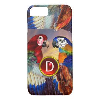 CAPA iPhone 8/ 7 PAPAGAIOS HYPER /RED E MONOGRAMA AZUL DE PEDRA