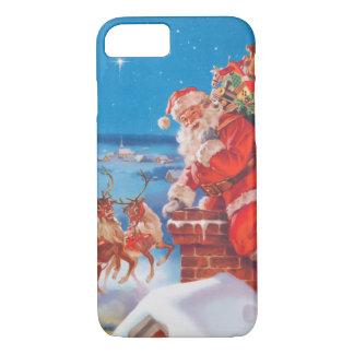 Capa iPhone 8/ 7 Papai Noel acima no telhado com sua rena