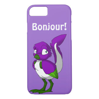 Capa iPhone 8/ 7 Pássaro Bonjour roxo/verde/o branco do Reptilian