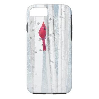 Capa iPhone 8/ 7 Pássaro cardinal vermelho na árvore de vidoeiro